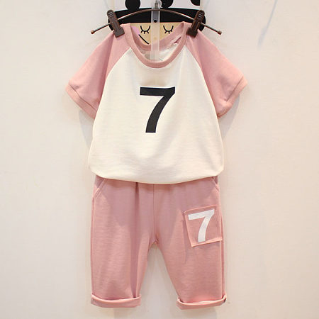 Buy Number Pattern Short Sleeves Sets, pink, SZ18051202 for $12.47 in Popreal store