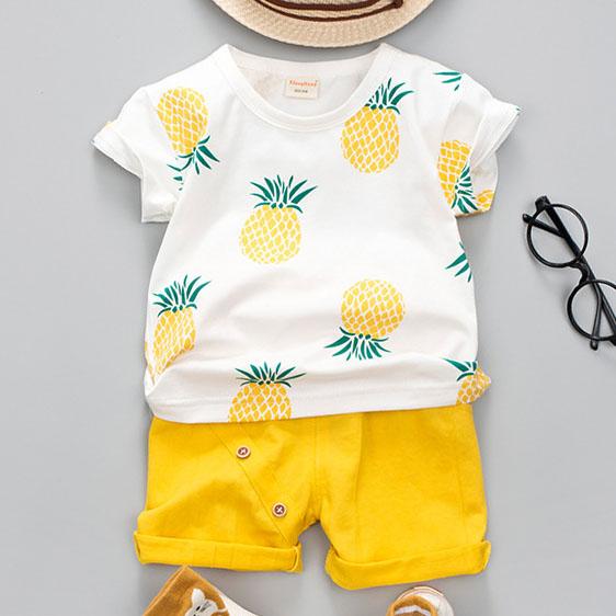 Pineapple Print Short Sleeves Sets
