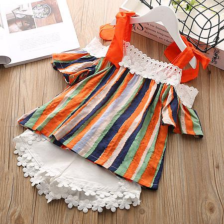 Colorful Stripe Lace Embellished Cold Shoulder Sets