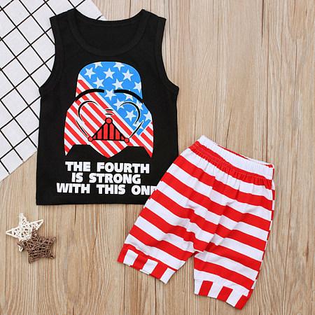 Cartoon Print Tank Top Stripe Shorts Sets