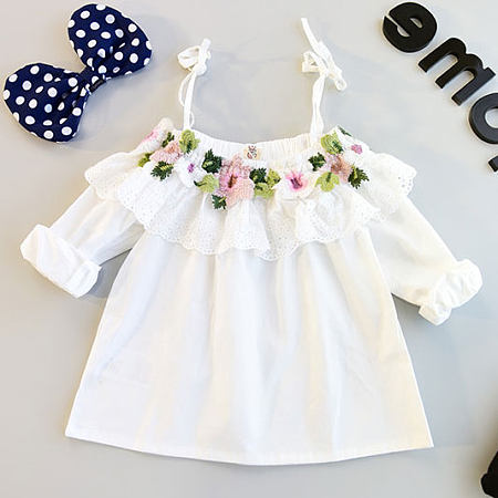 Buy Flower Ornament Ruffle Halter Top, white, SZ18060102 for $13.75 in Popreal store