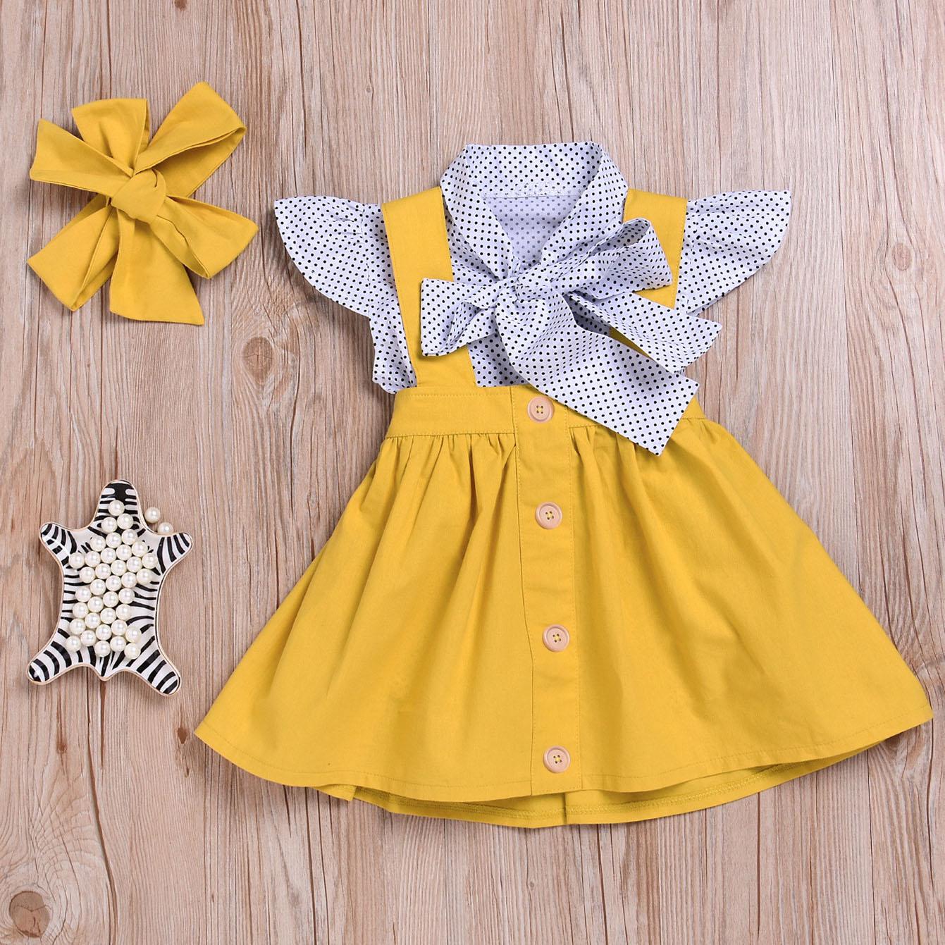 Polka Dot Print Top Suspender Skirt Sets With Hairband