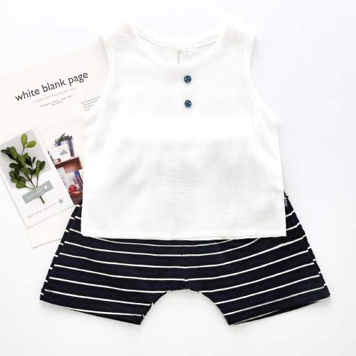 White Sleeveless Top Stripe Shorts Sets