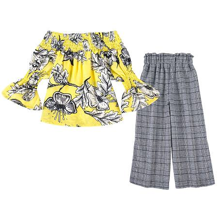 Off-Shoulder Botanical Print Plaid Pants Sets, yellow, SZ18061419
