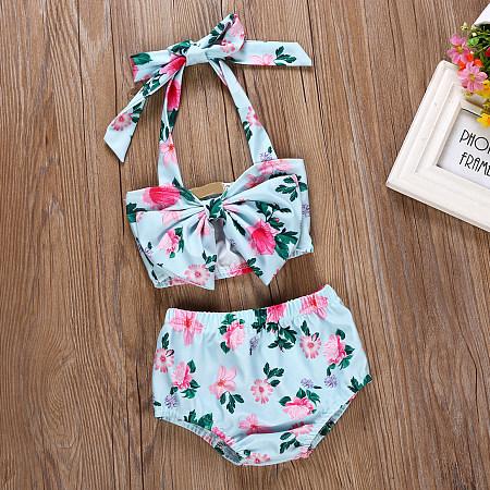 Allover Flower Print Halter Neck Swimwear