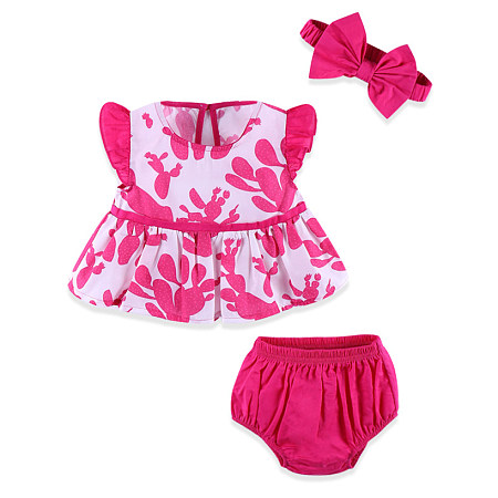 Fly Sleeves Top Solid Color Shorts Sets, pink, SZ18071803