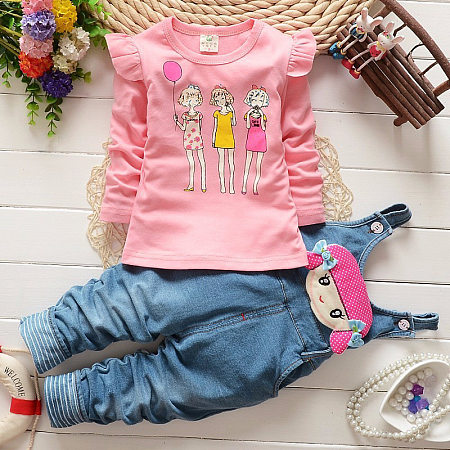 Buy Cartoon Girls Pattern Suspender Pants Sets, pink, SZ18072117 for $16.86 in Popreal store