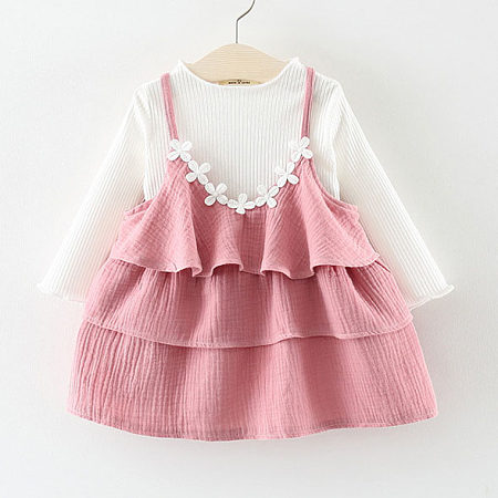 Buy Flower Ornament Ruffle Skirt Sets, pink, SZ18080207 for $13.96 in Popreal store