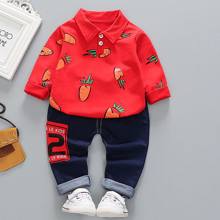 Cartoon Carrot Print Top Drawstring Pants Sets