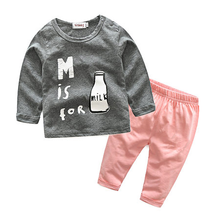 Cartoon Bottle Print Round Neck Top Pink Pants Sets