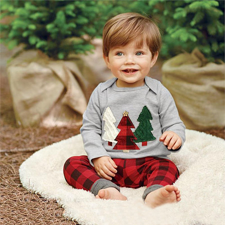 Cartoon Christmas Trees Print Plaid Sets