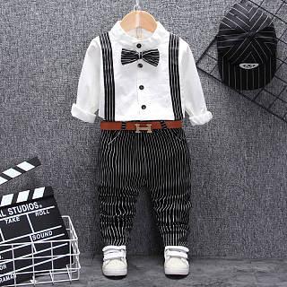 Set di pantaloni a righe con motivo ornamentale Bowknot