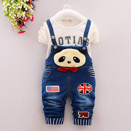 Panda Embellished Suspender Denim Pants Sets