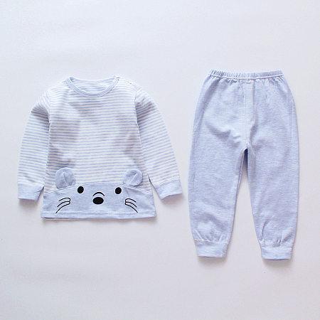 Cartoon Face Pattern Stripe Top Solid Color Pants Sets, blue, SZ18080916