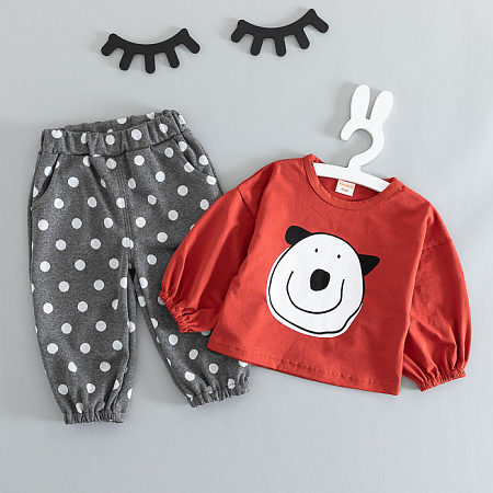 Cartoon Bear Print Top Polka Dot Pants Sets
