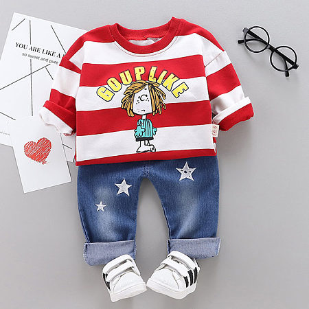 Cartoon Boys Pattern Top Stars Print Jeans Sets