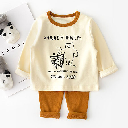 Cartoon Bear Print Top Solid Color Pants Sets