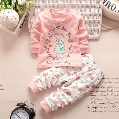 Cartoon Bunny Print Top Elastic Waist Sets