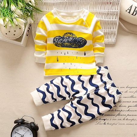 Cartoon Cloud Print Top Stripe Pants Sets
