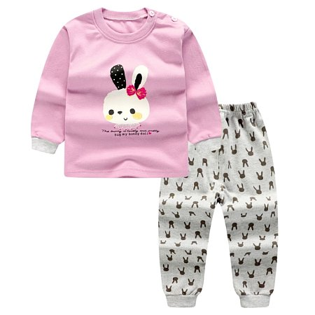 Cartoon Bunny Print Pink Top Sets