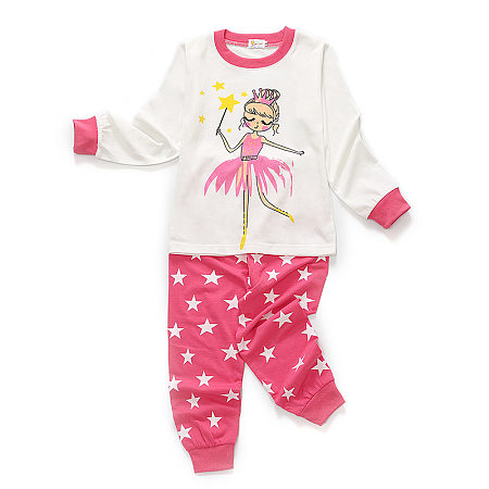 Cartoon Cute Girl Pattern Top Stars Print Pants Sets