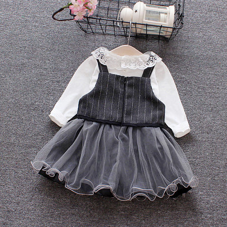 Buy White Lace Top Stripe Tulle Skirt Sets, black, SZ18081605 for $16.40 in Popreal store