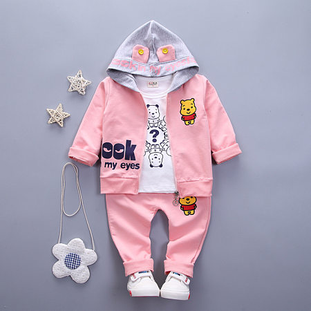 Cartoon Animals Print Hooded Top Elastic Waist Sets
