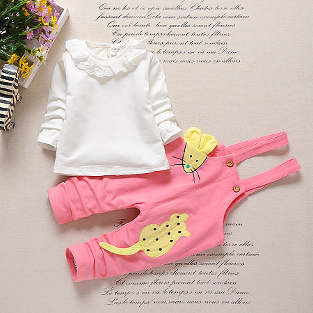 Cartoon Mouse Print Ruffle Keyhole Back Sets
