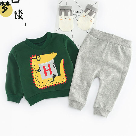 Cartoon Crocodile Print Top Gray Pants Sets