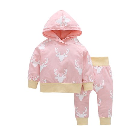 Cartoon Elk Print Hooded Top Sets