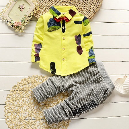Bowtie Embellished T-Shirt Gray Pants Sets