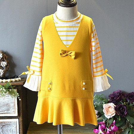 Stripe Knitting Top Solid Color Bowknot Embellished Skirt Sets