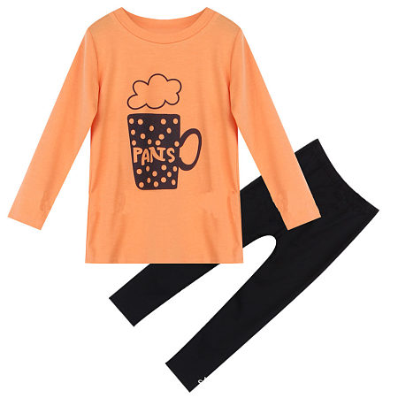 Cartoon Cup Print Top Black Pants Sets