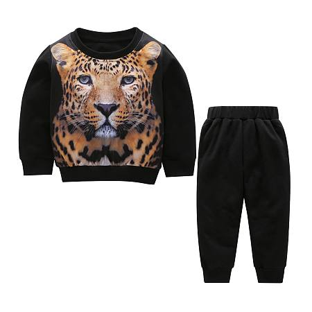 Cartoon Leopard Print Top Black Pants Sets
