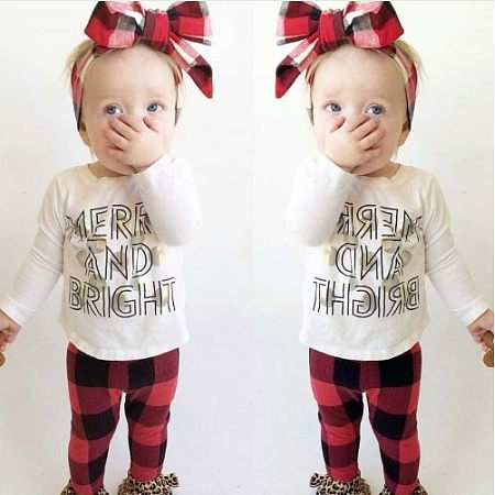 Alphabetic Printing Top Plaid Pants Sets