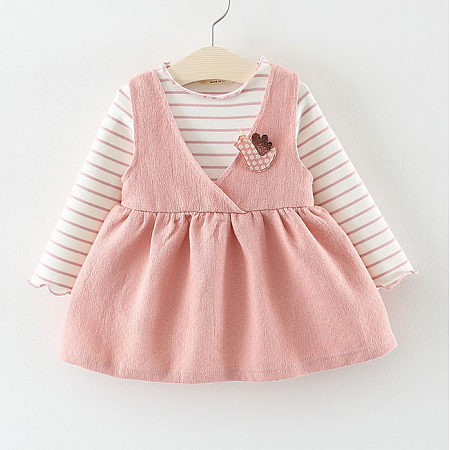 Buy Stripe Top Solid Color Skirt Sets, pink, SZ18082710 for $14.65 in Popreal store
