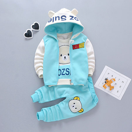 Cartoon Bear Print Hooded Top Solid Color Pants Sets