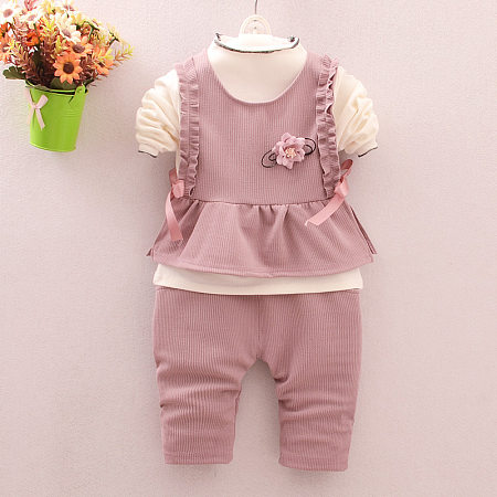 Buy Flower Ruffle Embellished Solid Color Pants Sets, pink, SZ18082811 for $17.33 in Popreal store
