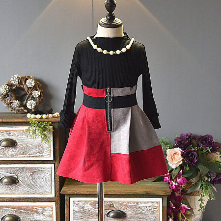 Black Top Color Block Skirt Sets