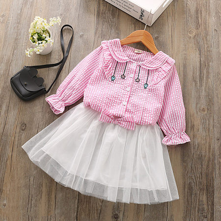 Doll Collar Stripe Top White Tulle Skirt Sets