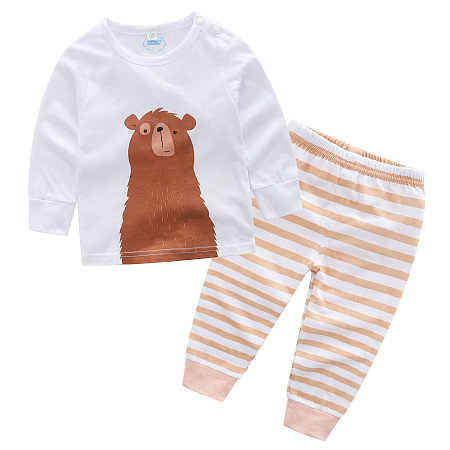Cartoon Animals Pattern Top Stripe Pants Sets