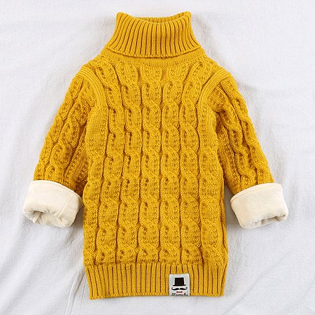 Thickened Solid Color Knitted Roll Neck Sweater