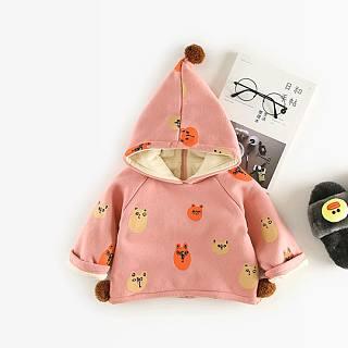 Thickened Plush Cartoon Animal Pattern Hooded Sweatshirt