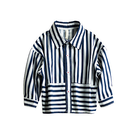 Buy Vertical Stripe Turn-Down Collar Shirt Top, lake_blue, TC18092702 for $16.50 in Popreal store