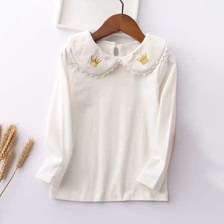 Doll Collar Crown Embroidered Blouse