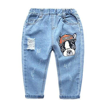 Cartoon Dog Ripped Jeans Letters Pants
