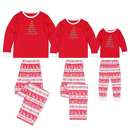 Striped Christmas Snowflake Reindeer Print Set Family Pajamas, 4949243