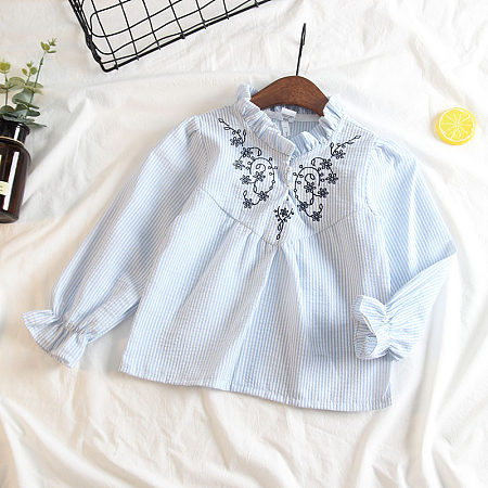 Lace-Collared Embroidered Shirt