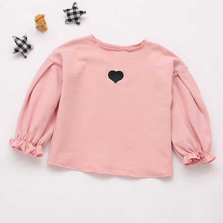 Heart-Shaped Pattern Puff Sleeve T-Shirt