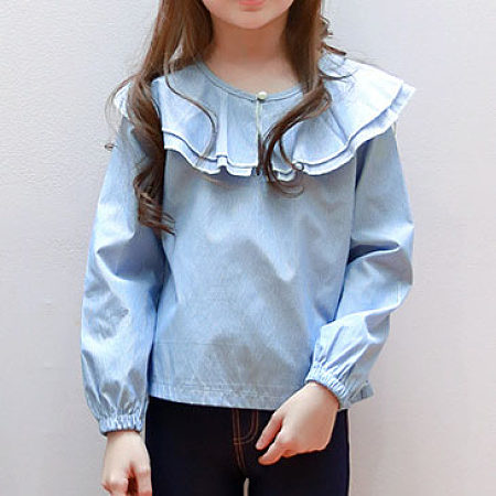 Doll Collar Vertical Stripe Long Sleeve  Shirt